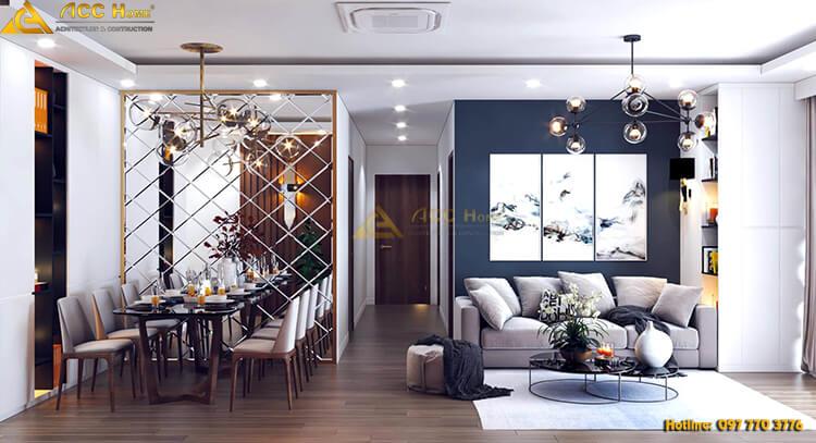 Thiết kế phòng khách liền kề phòng ăn