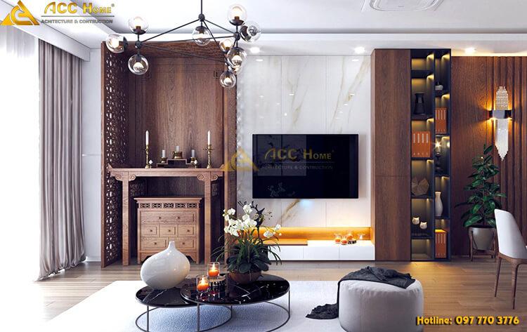 Thiết kế phòng khách với những vật dụng bằng gỗ