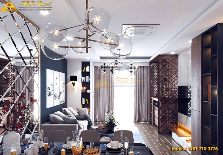 Thiết kế nội thất phòng khách kèm đèn chùm