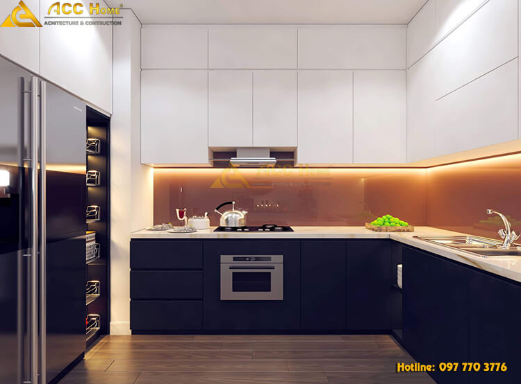 Thiết kế nội thất phòng bếp với tone đen cam