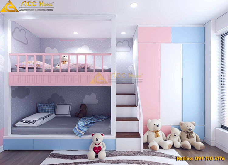 Thiết kế nội thất phòng ngủ con trẻ tone hồng