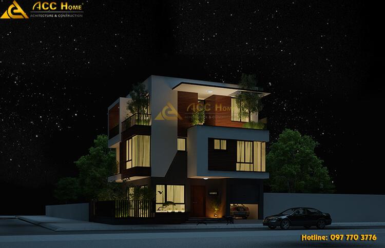 thiết kế biệt thự hiện đại được Acihome phối màu ban đêm