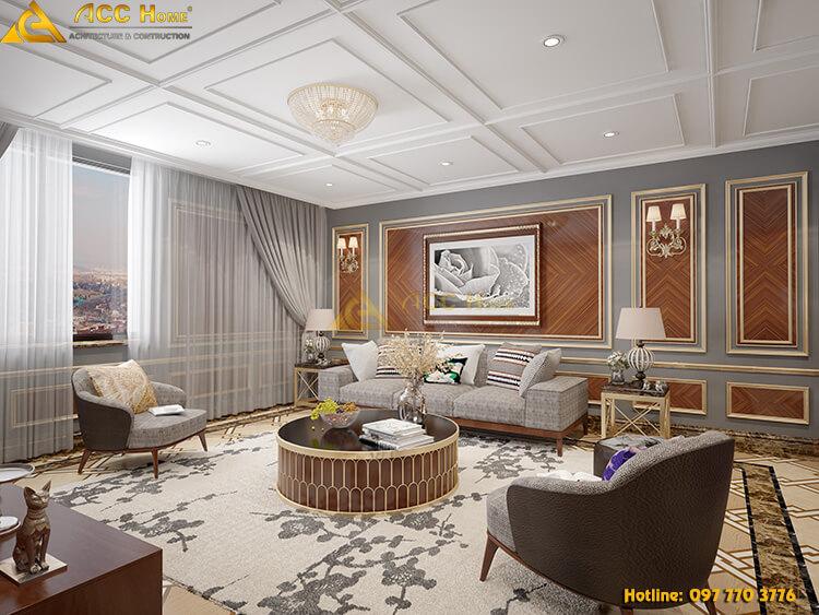 thiết kế nội thất phòng khách ở quảng an