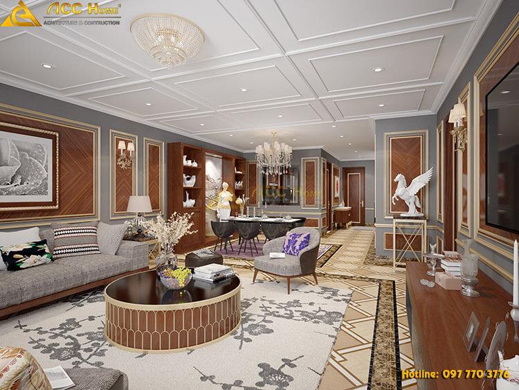 Nội thất phòng khách được thiết kế theo phong cổ điển