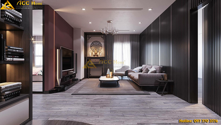 Thiết kế bao quát không gian toàn cảnh phòng khách