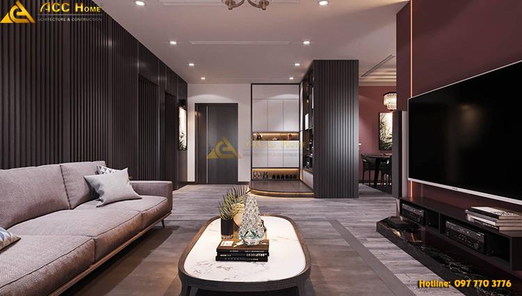 Thiết kế nội thất phòng khách đồng bộ