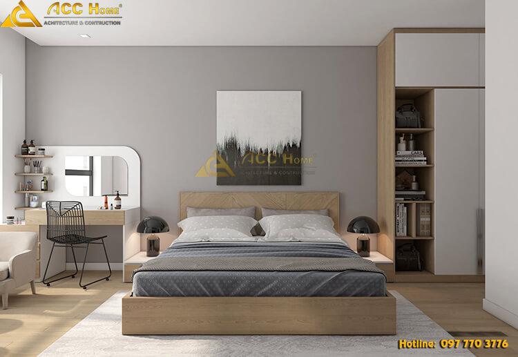 thiết kế nội thất phòng ngủ với phương án 2