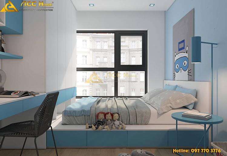 thiết kế nội thất phòng ngủ với tone màu ngộ nghĩnh