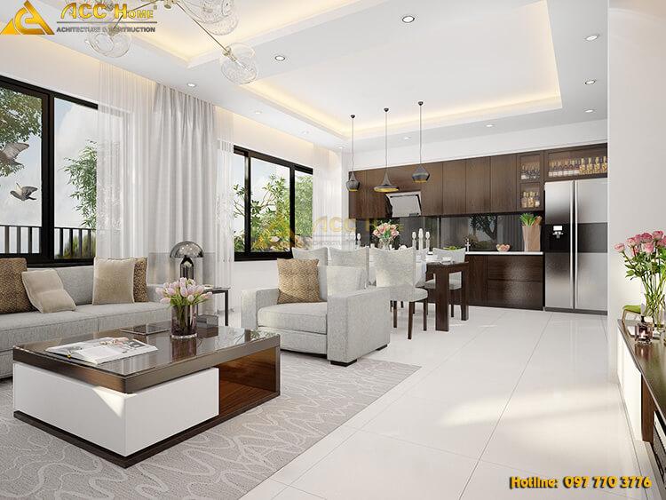 Thiết kế nội thất phòng khách hiện đại pha tân cổ