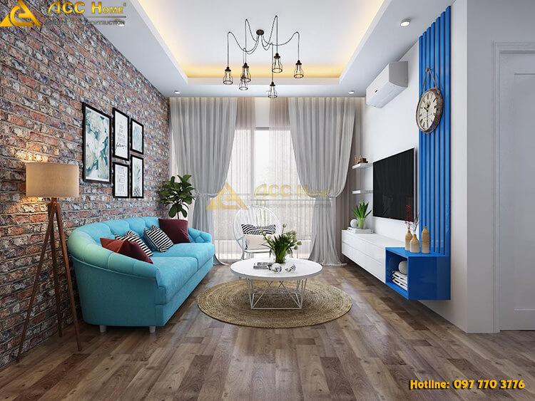 Thiết kế nội thất phòng khách màu xanh