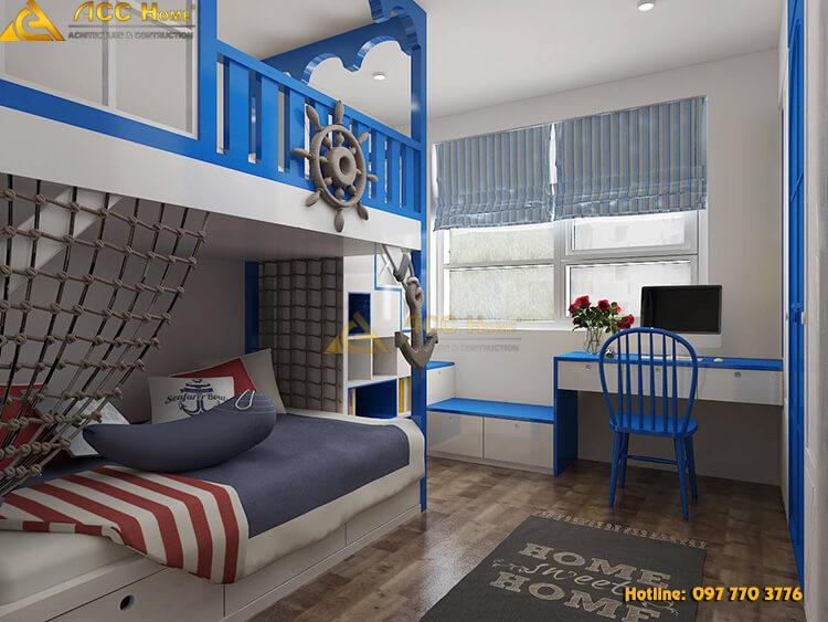 thiết kế phòng ngủ 2 tầng cho con trẻ