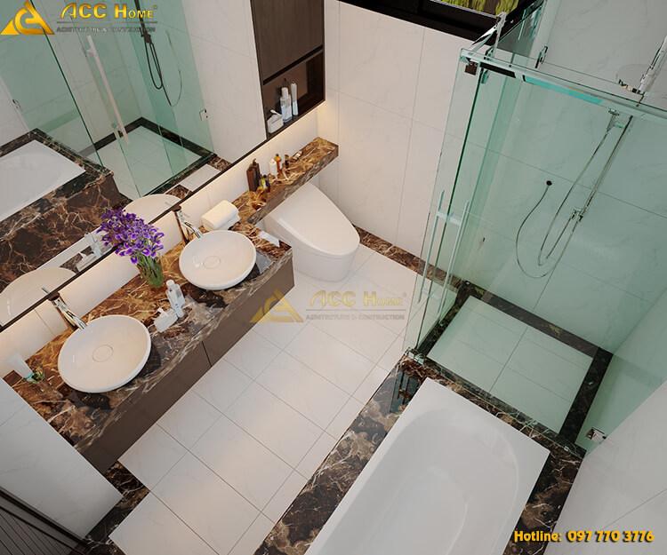 Phối cảnh không gian phòng tắm hiện đại