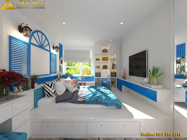 Thiết kế nội thất phòng ngủ tone xanh dương