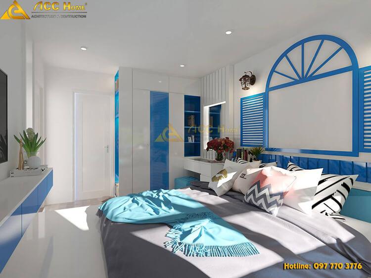 thiết kế nội thất phòng ngủ theo màu xanh dương