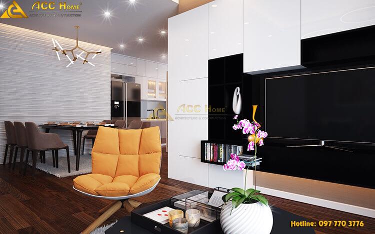 Thiết kế nội thất phòng khách theo phong cách hiện đại pha tân cổ
