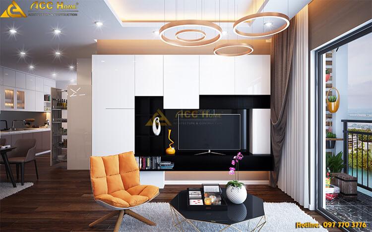 Thiết kế phòng khách hiện đại pha chút tân cổ điển