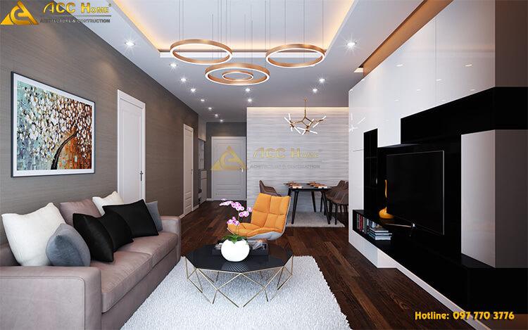 Thiết kế nội thất không gian phòng khách theo phong cách hiện đại pha tân cổ