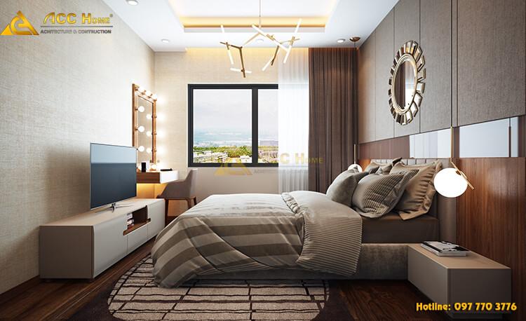 Nội thất phòng ngủ được thiết kế theo phong các hiện đại pha tân cổ