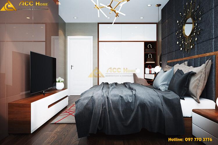 thiết kế nội thất phòng ngủ hiện đại pha cổ điển tại Quốc Oai