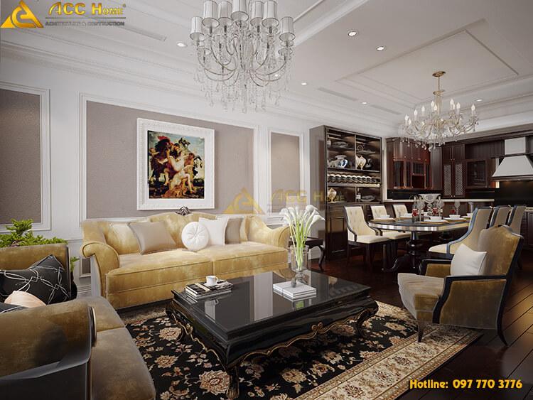 Thiết kế phòng khách căn biệt thự tại Hải Phòng