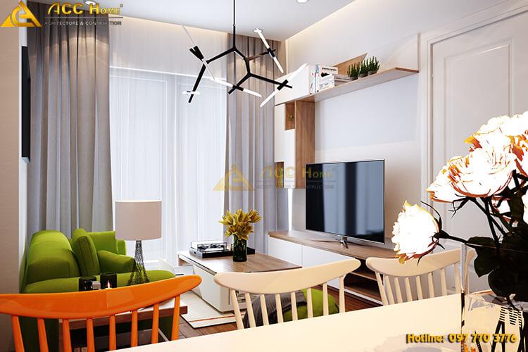 Thiết kế bàn ăn ngay cạnh phòng khách
