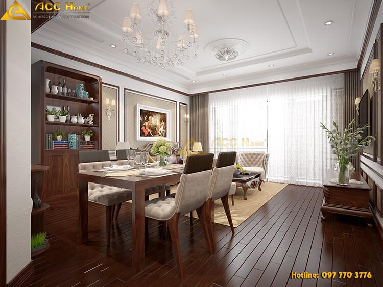 thiết kế nội thất phòng ăn ngay cạnh phòng khách