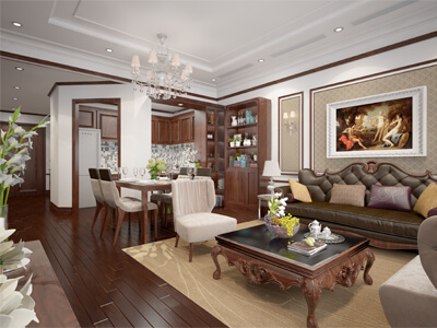 thiết kế nội thất nhà phố 81.4m2 tại thạch thất Hà Nội
