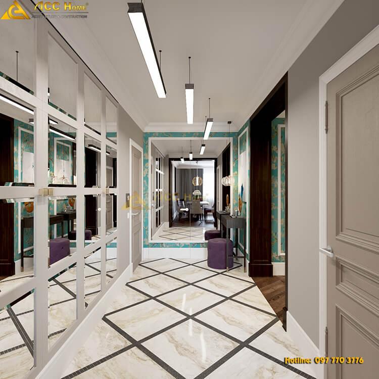 thiết kế hành lang nhà phố
