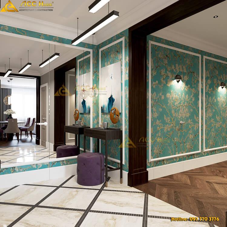 hành lang được thiết kế rộng
