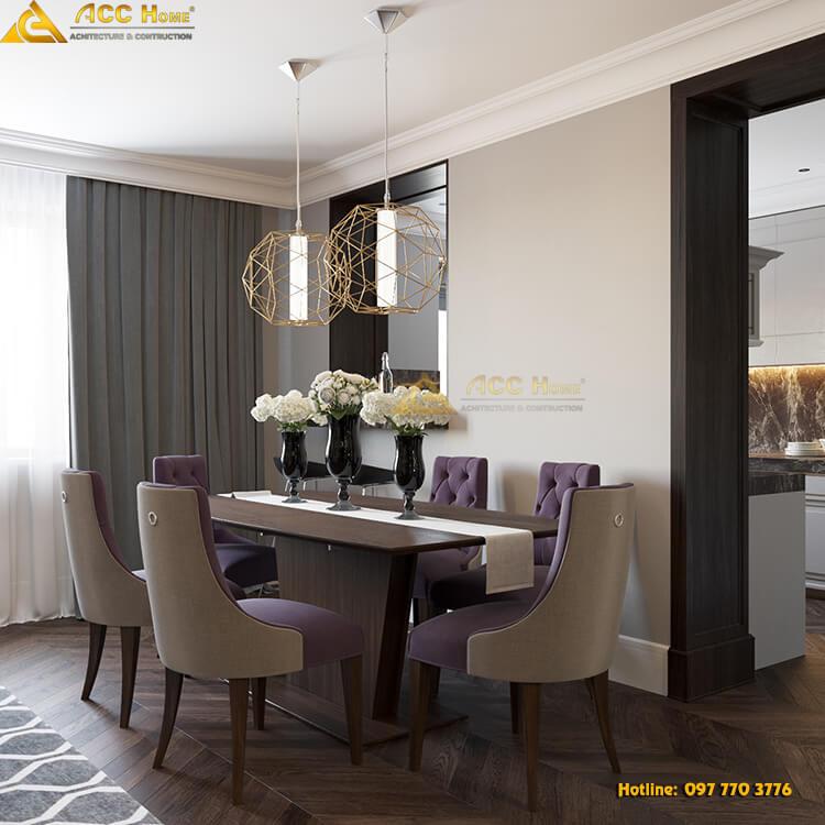 Thiết kế phòng ăn tiếp giáp với phòng khách