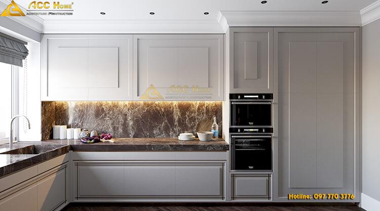 thiết kế phòng nội thất phòng bếp sáng màu