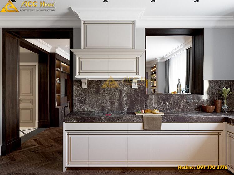 phòng bếp được thiết kế với tủ treo