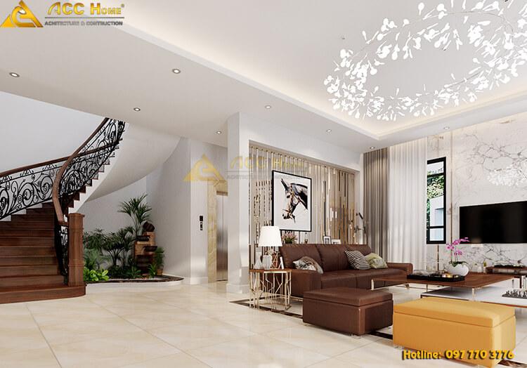 nội thất phòng khách được thiết kế theo phong cách hiện đại