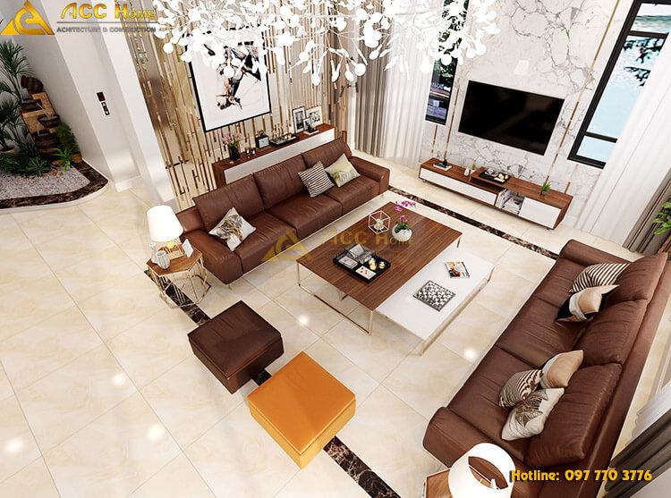 phòng khách thiết kế với đầy đủ nội thất