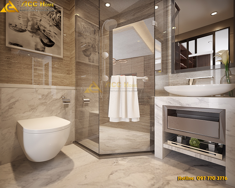 nội thất phòng vệ sinh sạch sẽ trong suốt