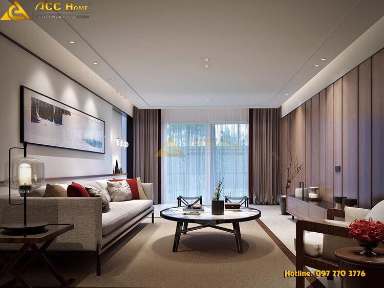 Thiết kế phòng khách theo phong cách tân cổ pha hiện đại
