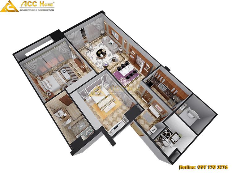 Nội thất tổng thể trong chung cư 130m2