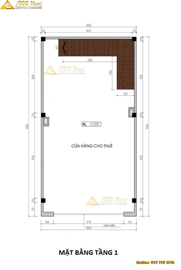bản vẽ thiết kế nhà phố mặt tiền 5 m tầng 1