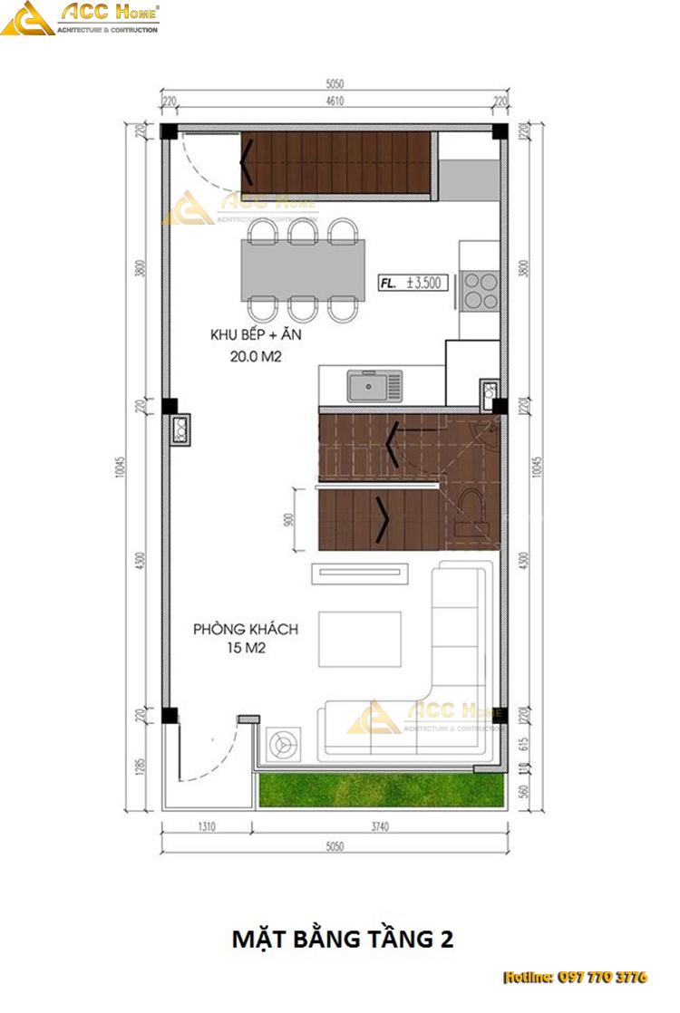 bản bẽ chi tiết nhà phố mặt tiền 5m tầng 2