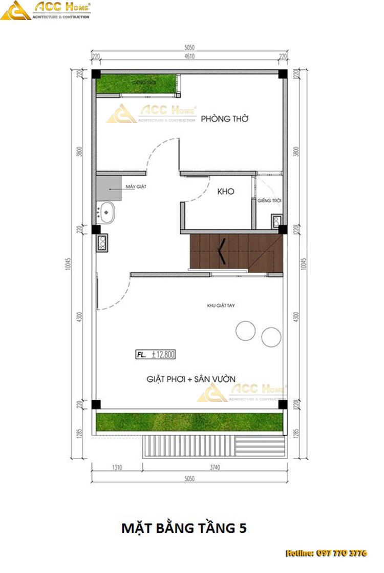 bản vẽ thiết kế nhà phố mặt tiền 5 m tầng 5