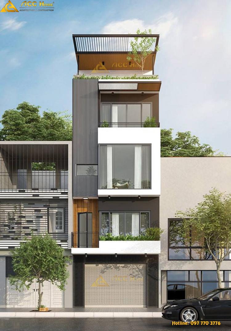mẫu thiết kế nhà phố hiện đại mặt tiền 5 m tại Bắc Ninh