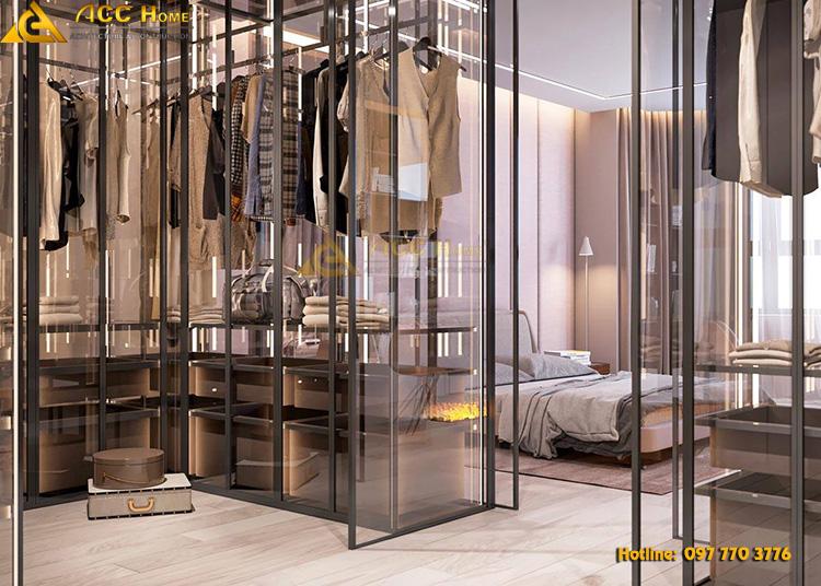 thiết kế tủ đựng quần áo gần cạnh phòng ngủ