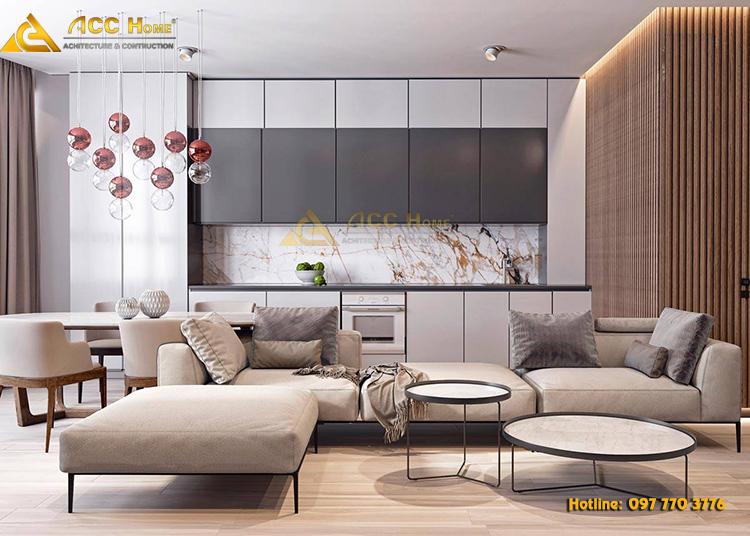 thiết kế nội thất phòng khách theo phòng cách hiện đại