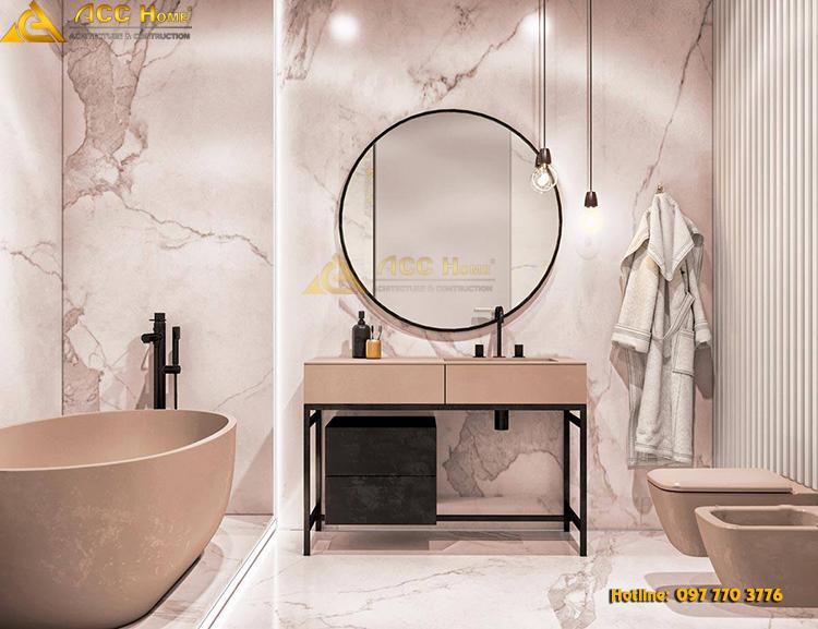 Phòng vệ sinh được thiết kế với nội thất thân thiện