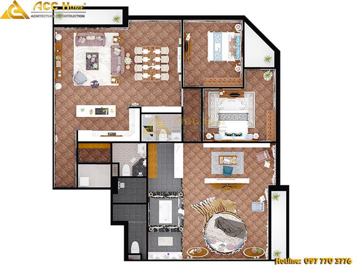 Hình chiếu bằng bản vẽ tổng thể nội thất các phòng căn hộ 220m2