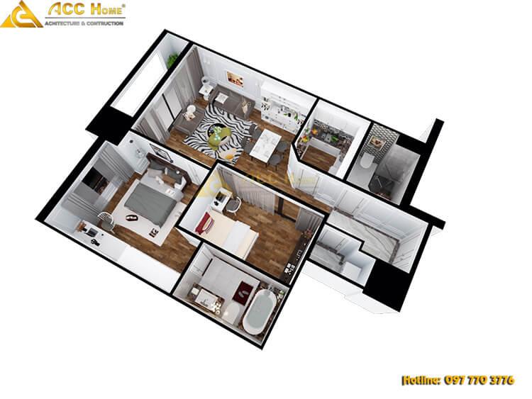 Sơ đồ bản vẽ mẫu thiết kế nội thất chung cư 84m2