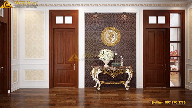 thiết kế kệ trang trí hành lang tầng 2
