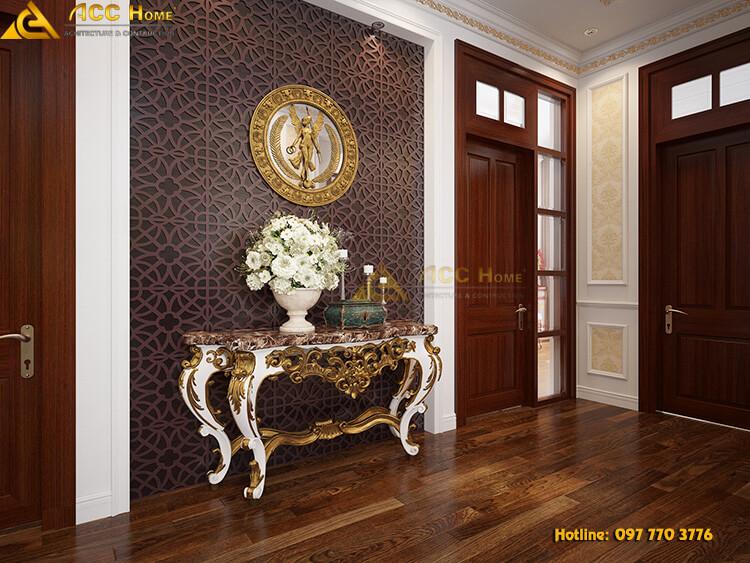 view kệ trang trí và không gian ngoài căn phòng tầng 2