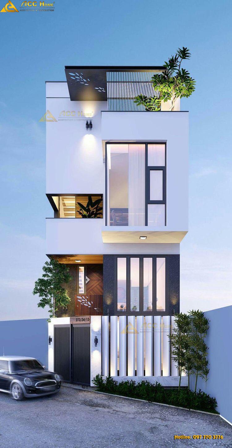mặt tiền mẫu thiết kế nhà phố 122m2x3.5 tầng