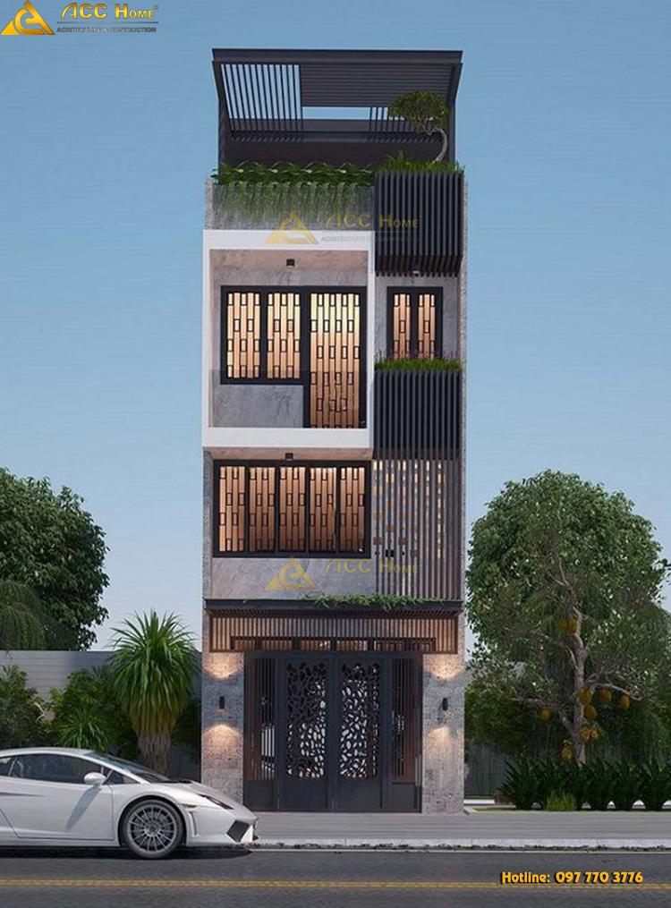 thiết kế nhà phố mặt tiền 5 m
